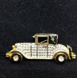 Vintage Rhinestone Motor Car Pin